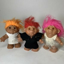"Lot of 3 Vintage Dam 1986 5"" Trolls Wedding Dress White Black Orange Red... - $29.95"