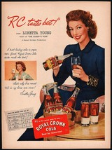 Vintage magazine ad ROYAL CROWN COLA from 1948 picturing Loretta Young - $13.49