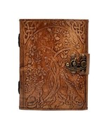 Handmade Wolf Embossed Charcoal Color Leather Journal Notebook Organizer... - $27.96