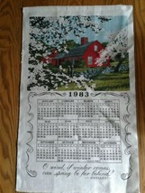 Unused 1983 Linen Kitchen Calendar Towel ~ Red Country Barn in Spring ~ ... - $7.91