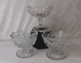Glass Pedestal Star & Sawtooth Edged Vintage Pressed Glass Compote Candy... - $34.99