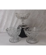 Glass Pedestal Star & Sawtooth Edged Vintage Pressed Glass Compote Candy... - $24.99