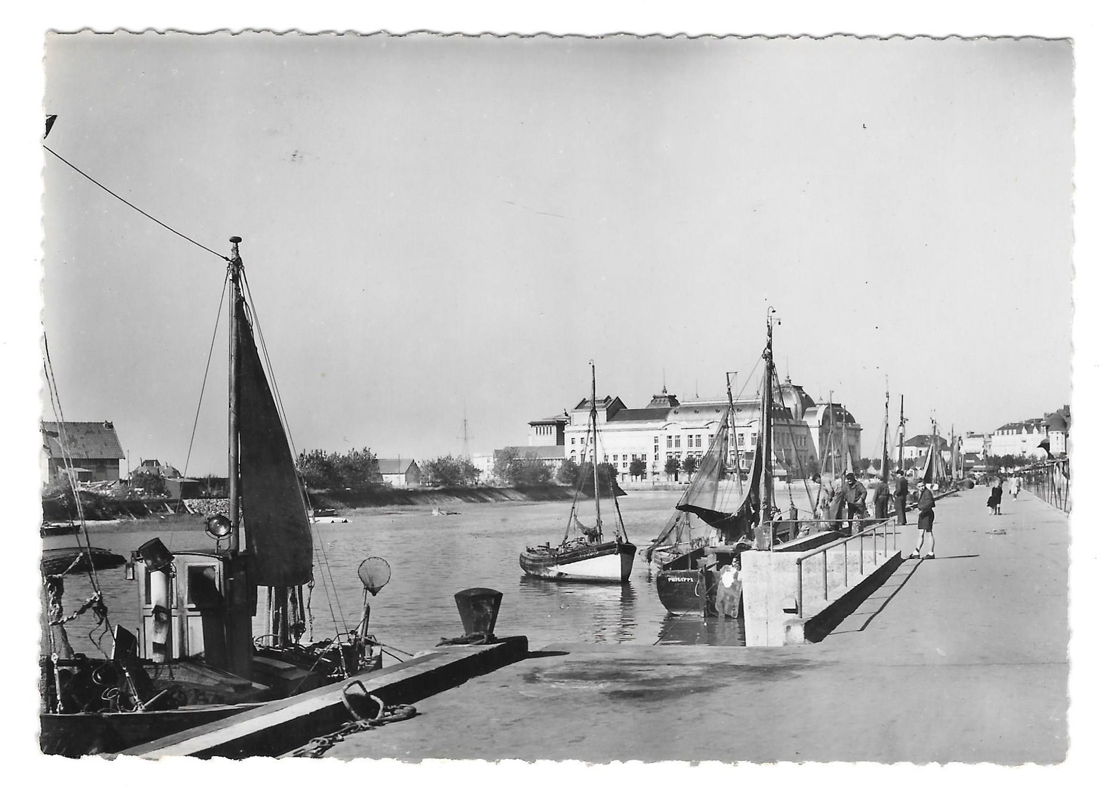 France Trouville Fishing Boats Harbor Port La Cigogne Postcard Glossy Photo 4X6