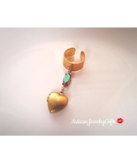 Gold Tiny Heart Locket Ear Cuff Gem Ear Cuff Gold Heart Locket Boho Ear ... - $58.00