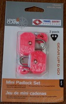 Lewis N Clark Gear Up & Go Mini PadLock Set - 2 Locks - Pink - BRAND NEW - $12.86