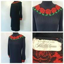 Saks Fifth Avenue Shop Sweater Dress size M Vintage Black Wool Red Roses... - $59.95