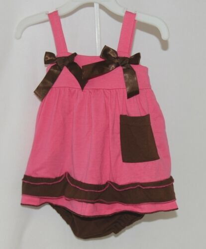 I Love Baby Hot Pink Brown Sun Dress Ruffle Bloomers Size 80cm 1 to 2 Year Old