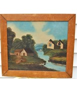 Naive Primitive Oil Painting Artist Board River Mountains Buildings Ruin... - $275.00