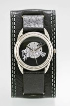Fossil Watch Mens PLANET HOLLYWOOD Stainless Silver Black Wide Leather Q... - $35.13