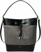 Ralph Lauren Debby II Houndstooth Calf Hair Bucket Hobo Bag, Black $398 - $195.07