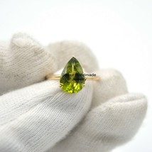 Solid 14k Gold Paridot Gemstone Vintage Ring Statement Wedding Woman Jew... - $307.89