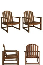 Wooden Patio Chairs 2Pcs Outdoor Pool Hotel Cafe Home Seating Furniture ... - $188.71