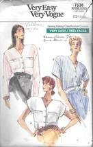 Vtg Vogue #7536 Misses' Loose Fitting Blouse - Size 12-16 - $6.44