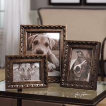 THREE NEW AGED BRONZE FINISH PICTURE PHOTO FRAMES VINTAGE MODERN STYLE - $118.80
