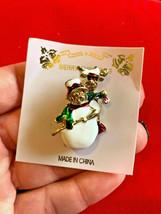 new Enamel Christmas Holiday Snowman Reindeer Brooch Pin - $7.91