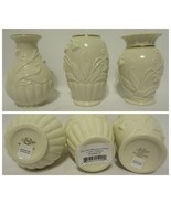 """Lenox Lily of the Valley Set of 3 Vases 4.125"""" Porcelain Gold Trim New! - $39.59 CAD"""