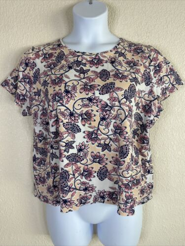 Primary image for Croft & Barrow Womens Plus Size 1X Pink Floral Pattern Classic T-Shirt