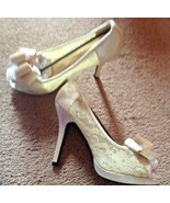 blossom footwear heels new shoes sz 8.5 8 1/2 cailie nude satin lace - $24.99