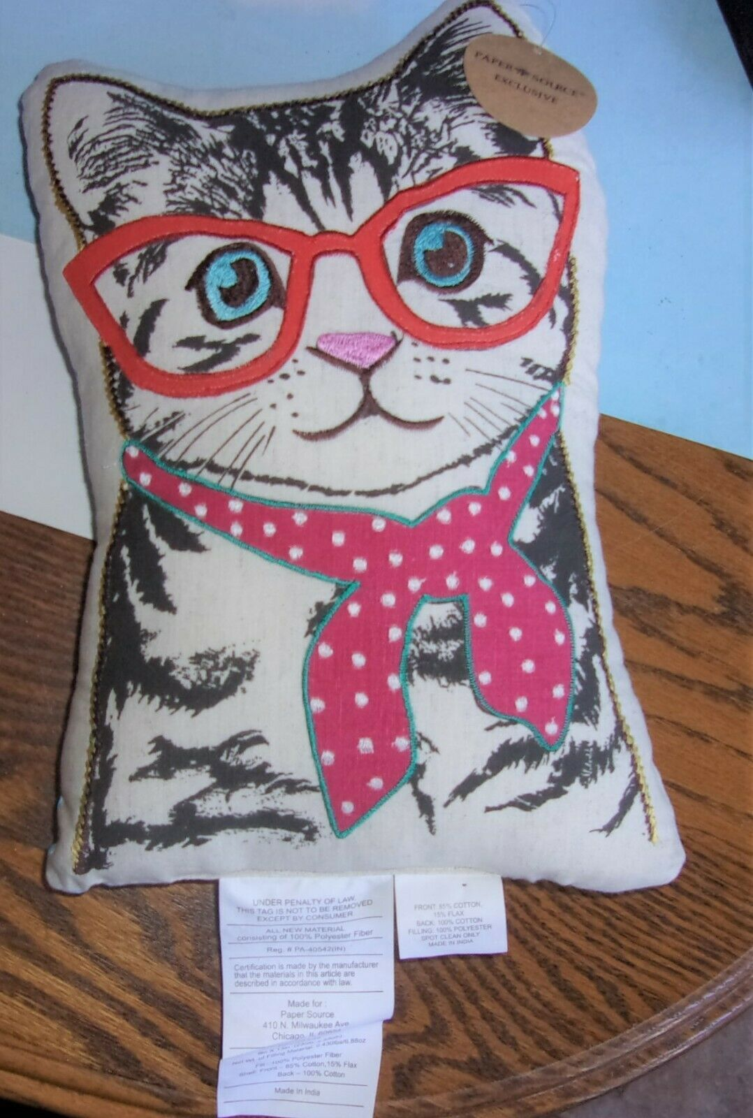 Primary image for Paper Source KITTY CAT w/Glasses & Scarf Embroidered Decorative Pillow NWT 13""