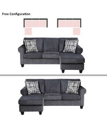 """Gray 86"""" Sofa Polyester Fabric Bed Couch w/2 pIllows Tatami Livingroom F... - $632.80"""