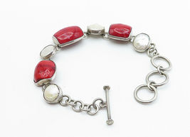 925 Sterling Silver - Vintage Red Coral & Mother Of Pearl Chain Bracelet - B6066 image 3