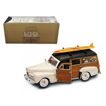 1948 Ford Woody With Wood And Surfboard Cream 1/18 Diecast Model Car by Road Sig - $102.83