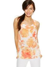 Inc Womens Floral Orange Summer Top Xs $50 - $15.83