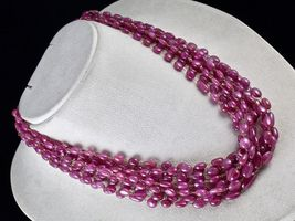 PINK RUBY BEADS CABOCHON 9 LINE 780 CARATS GEMSTONE 18K GOLD LADIES NECKLACE image 6
