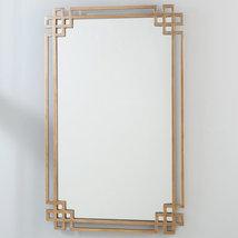 Regency Mid Modern Chinoiserie Fretwork Golden Ornate Wall Mirror Horchow - $394.34