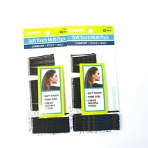 Set Of 2 Conair Soft Touch Multi Pack Black Bobby Pins 60 Ea #55180 Thre... - $13.61