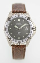 Fossil Watch Mens Date Stainless Steel Silver 50m Brown Leather Batt Gra... - $35.08