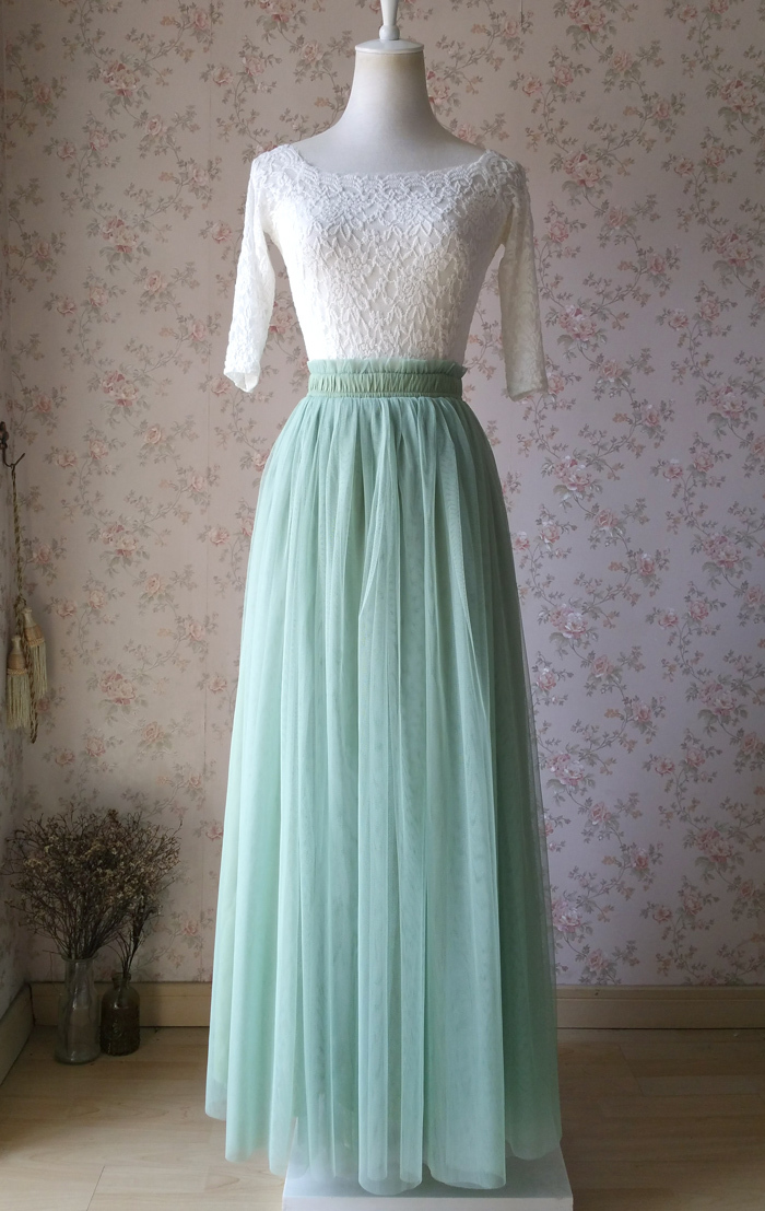 Sage green tulle skirt 1205 5