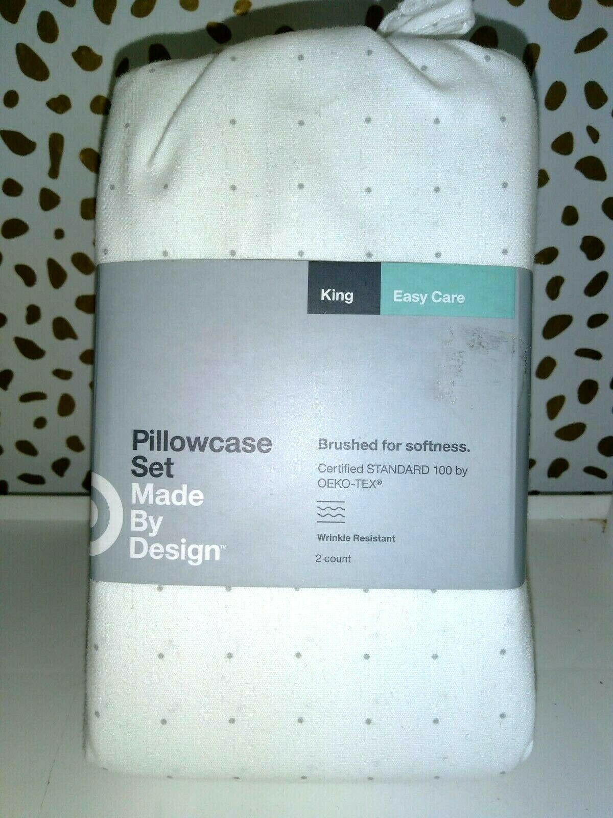 Made By Design Solid Easy Care Pillowcase Set (King) Light GRAY DOTS NEW!STORE