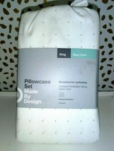 Made By Design Solid Easy Care Pillowcase Set (King) Light GRAY DOTS NEW!STORE image 1
