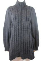 Eddie Bauer Cardigan Chunky Cable Knit Zip Sweater Jacket Women's M Tuni... - $25.41