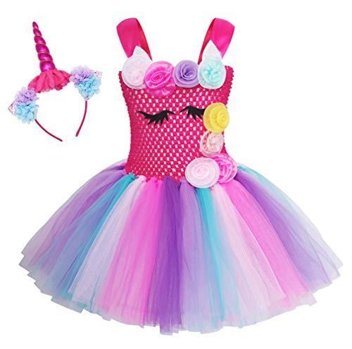 Cotrio Rainbow Unicorn Tutu Dress Girls Birthday Party Fancy Dresses with Headba