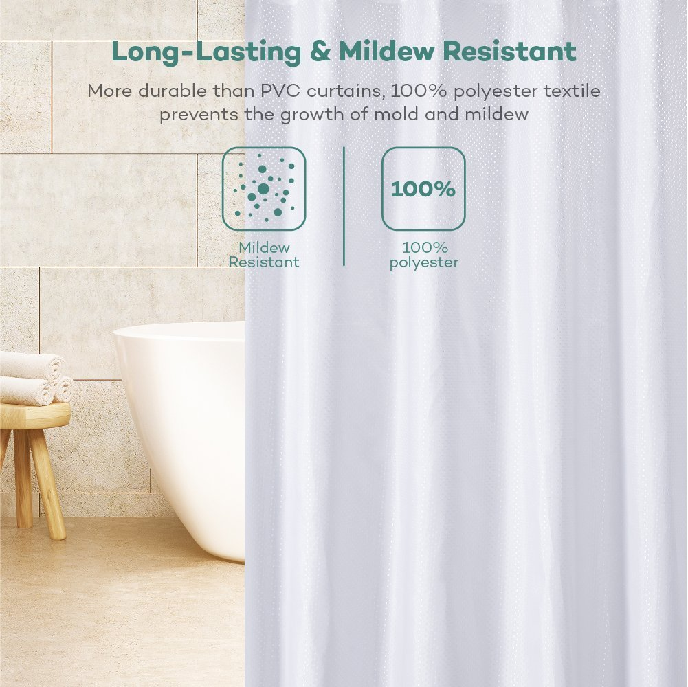 Feiqiong Mildew resistant shower curtain fabric with rustproof grommets and plas