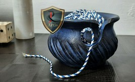 Wooden Yarn Bowl Blue Antique Ball Thread Bowl Knitted Crochet Wool Stor... - $44.54
