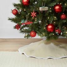 "Wondershop 34"" Reversible Linen Christmas Tree Skirt for tree up to 42"" NEW"