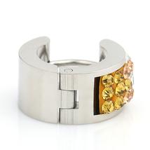 UNITED ELEGANCE Stylish Silver Tone Hoop Earrings With Swarovski Style Crystals image 3