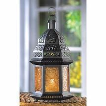 Moroccan Style Black Metal Candle Lantern w/ Yellow Pressed Glass & Cutouts - $19.75
