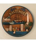 Baltimore MD Souvenir Decorative Collectible Wall Plate Brown 3D Vintage... - $29.99
