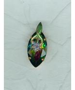 Handmade Aurora Borealis  Olivine Crystal Drop Pendant With Superimposed... - $18.00