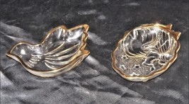 Glass Candy Dish with Gold Trim AA18 - 1176 Pair of Vintage image 1