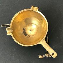 Vintage Miniature Brass Ornament Christmas Mini Ashtray With Handle Gold Patina image 9