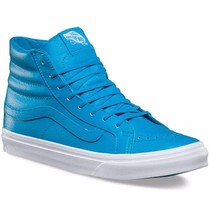 VANS Sk8 Hi Slim (Neon Leather) Neon Blue Skate Shoes WOMEN'S 7 - $39.95