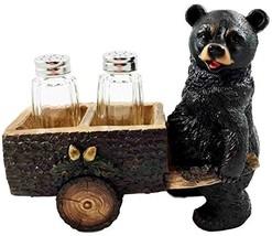 Whimsical Hardworking Black Bear Pushing Spice Cart Salt Pepper Shaker H... - $19.75