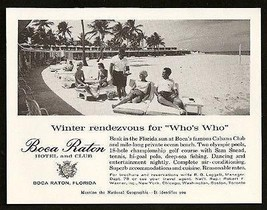 Boca Raton Florida Hotel & Club Pool 1960 Photo AD - $10.99