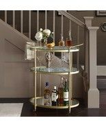 Antique Gold Bar Cart Glass Metal Contemporary Kitchen Room Furniture Ho... - $272.82