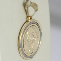 18K WHITE AND YELLOW GOLD MEDAL STYLIZED VIRGIN MARY AND JESUS MADE IN ITALY image 2